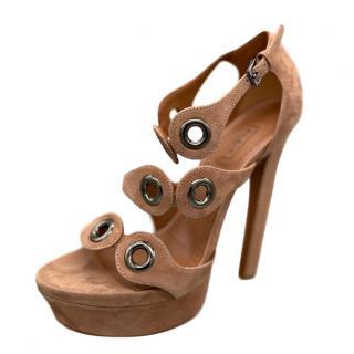 Alaia Nude Suede Eyelet Embellished Sandals