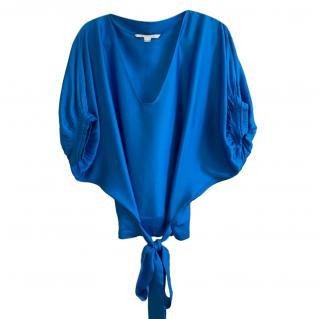 Diane Von Furstenberg Blue Tie Waist Top