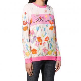 Blumarine Floral Print Logo Sweater