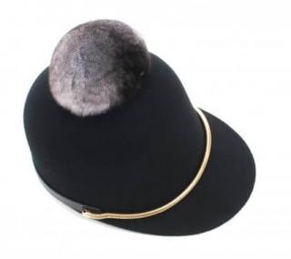 FurbySD Black Felted Wool Hat with Chinchilla Pom Pom