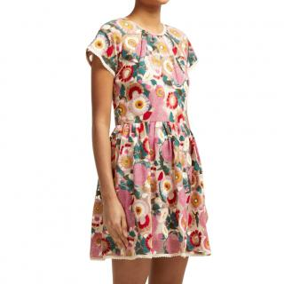 REDValentino Floral Embroidered Mini Dress