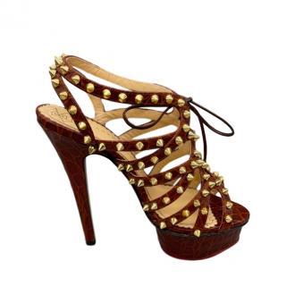Charlotte Olympia Croc Embossed Studded Platform Sandals