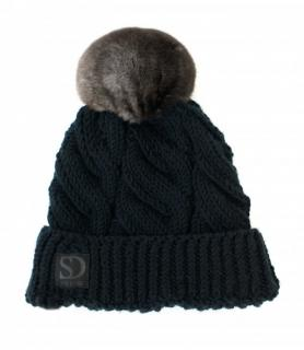 FurbySD Black Merino Wool Cable Knit Hat with Chinchilla Fur Pom Pom