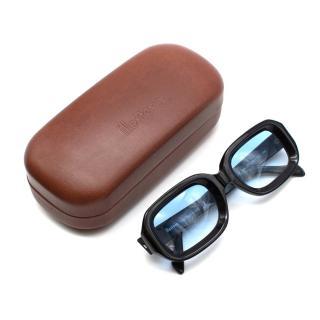 Illesteva Black Vinyl Sunglasses with Blue Gradient Lenses