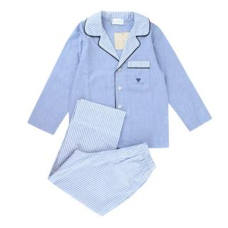 Story Loris Kid's Cotton Blue & White Striped Pyjama Set