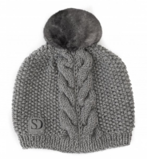 FurbySD Grey Cable Knit Beanie with Fur Pom Pom