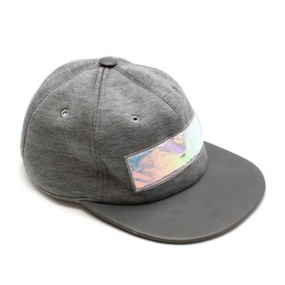 Dior Grey Jersey & Leather Cap with Holographic Patch