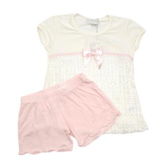Story Loris White Lace Trim Pyjama Top & Pink Shorts