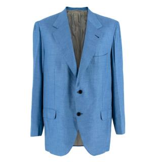 Donato Liguori Blue Cashmere Blend Single Breasted Blazer Jacket