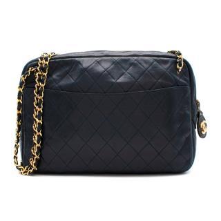 Chanel Blue Quilted Leather Vintage Camera Bag
