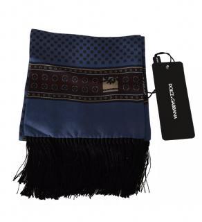 Dolce & Gabbana Mens blue baroque print fringed scarf