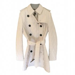 Burberry White Quilted Belted Jacket