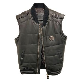 Philipp Plein Black Sleeveless Leather Vest