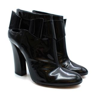 Casadei Black Patent Leather Bow Detail Heeled Ankle Boots