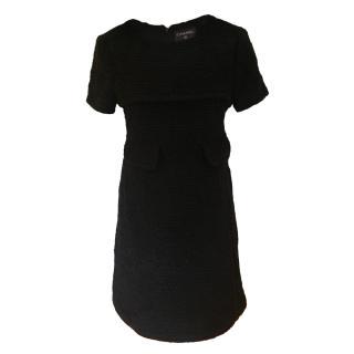Chanel Black Boucle Tweed Short Sleeve A-Line Dress