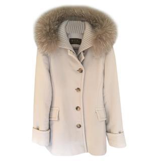 Loro Piana Beige Fox Fur Trimmed Cashmere Coat