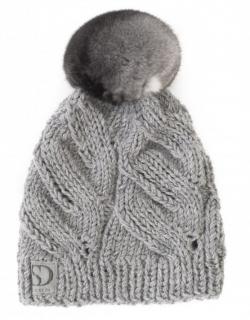FurbySD Grey Cable Knit Beanie with Fur Pom Pom