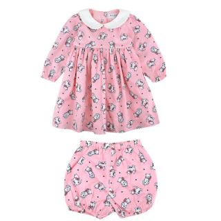 Rachel Riley Pink Cat Pattern Dress and Shorts Two Piece