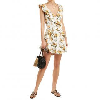 Zimmermann Golden Flutter Ruffled Mini Dress