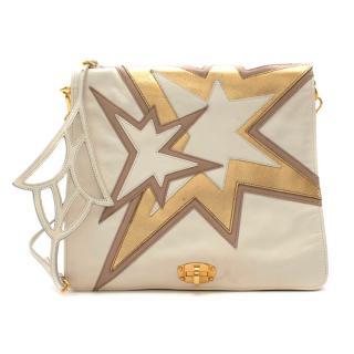 Miu Miu Ivory/Gold Star Pattern Crossbody Bag