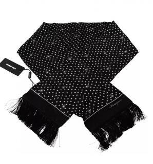 Dolce & Gabbana mens black & white polka dot fringed scarf