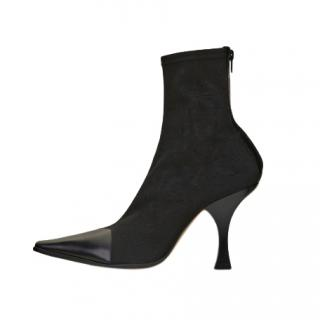 Celine Black Suede & Leather Madame Ankle Boots