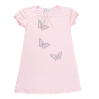 Story Loris Pink Butterfly Embellished Kids Night Dress