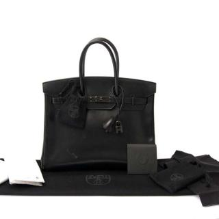 Hermes So Black Box Leather Birkin 35 BHW
