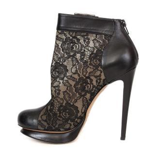 Nicholas Kirkwood Lace & Leather Platform Booties