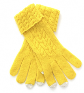 N.Peal Yellow & White Mongolian Cashmere Gloves