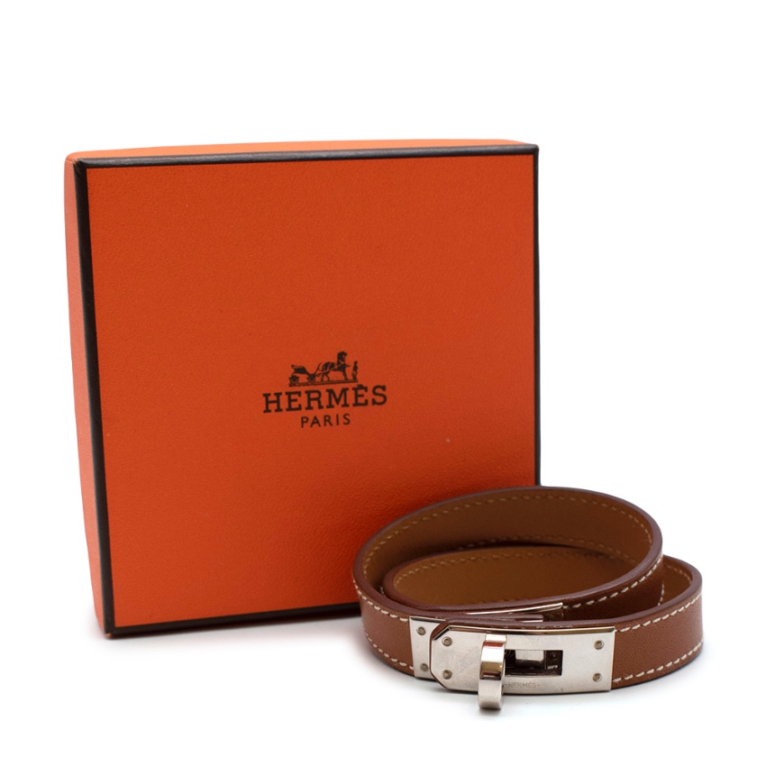 Hermes Gold Swift Leather Kelly Double Tour Bracelet with Palladium HW