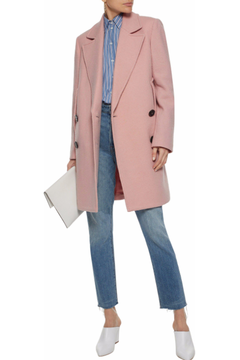 Theory Cape Double-breasted Wool Coat in Blush