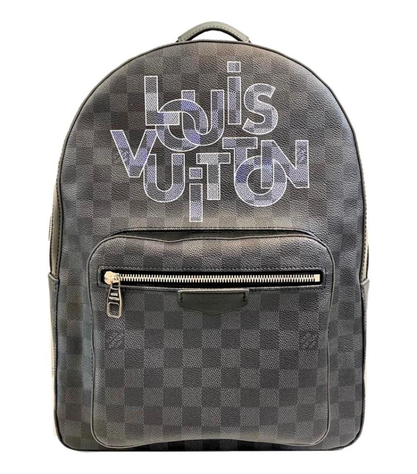 Louis Vuitton Graphite Check Logo-Print 'Josh' Backpack