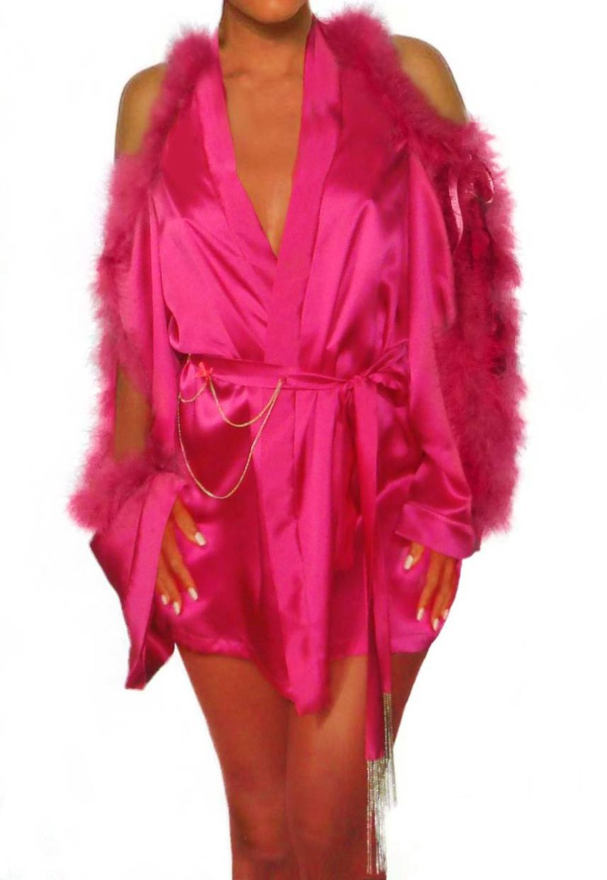 Maguy de Chadirac Marabou Feather Trim Pink Silk Kimono Robe