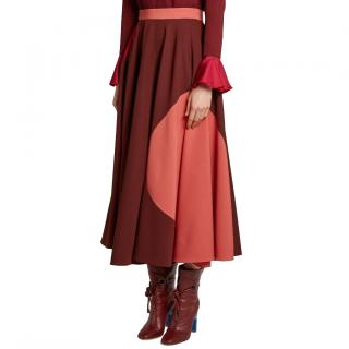 Roksanda Milena tri-colour stretch-crepe midi skirt