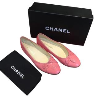 Chanel Pink Patent Leather Ballerina Flats