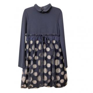 I Pinco Pallino Blue Polka Dot Puff Skirt Dress