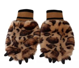 Dolce & Gabbana Leopard Print Paw Knit Gloves