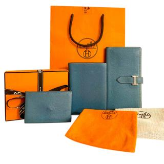 Hermes Celeste Epsom Leather Bearn Wallet, Agenda & Coin Purse