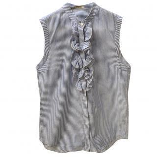 Brunello Cucinelli sleeveless striped ruffle blouse