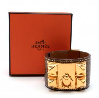 Hermes Brown Collier de Chien Alligator Mississippiensis Bracelet