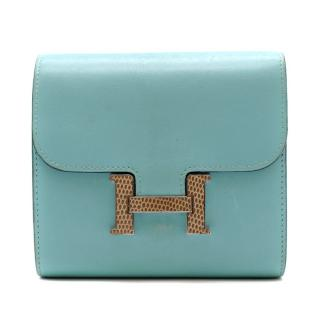 Hermes Blue Atoll Swift Leather & Lizard Constance Compact Wallet