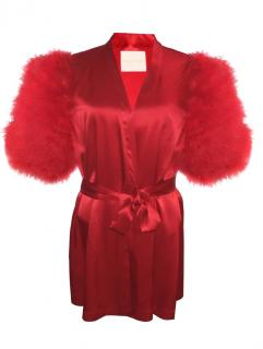 Maguy De Chadirac Red Silk Marabou Feather Trim Kimono Robe