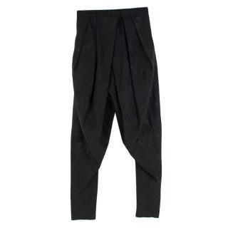 Balmain Black Jacquard Wool blend Pleated Trousers