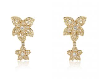 Bespoke Yellow Gold Diamond Flower Drop Earrings