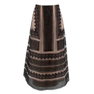 Alberta Ferretti Nude & Black Lace Maxi Skirt