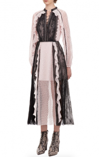 Self Portrait Sequin Mesh and Lace Contrast Midi Dress