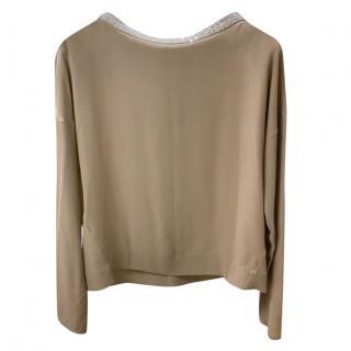 Brunello Cucinelli silk blouse with monilli bead trim