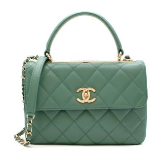 Chanel Green Lambskin Flap Top Handle Bag with Golden Hardware