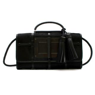 Tom Ford Black Pony Hair & Leather Caged Shoulder Bag With Tassels